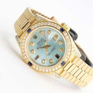 Rolex Datejust 69178 18k Gold Sky blue Diamonds